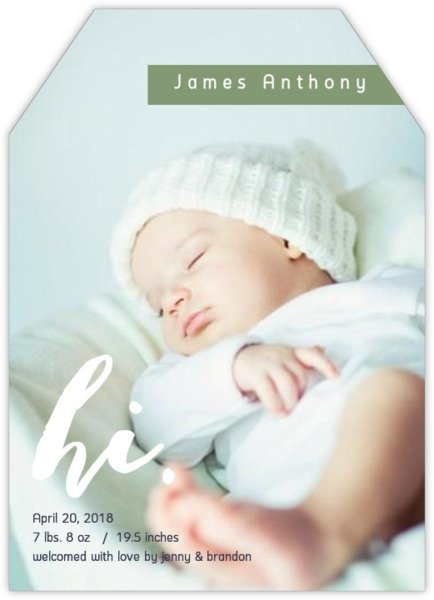 Green and White Ribbon Baby Announcement Baby Boy Announcements