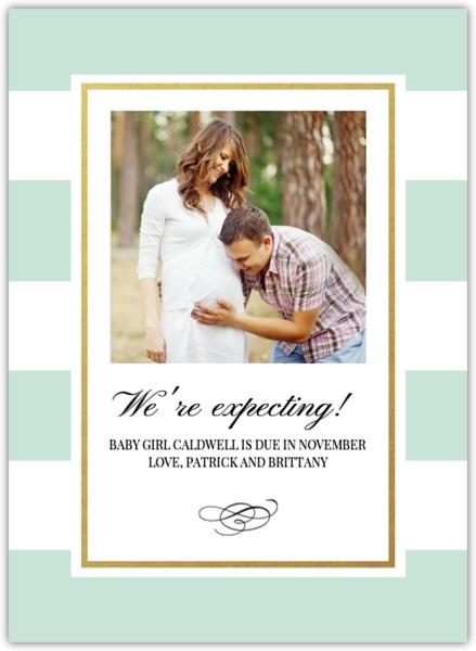 Classic Mint and Gold Stripe Pregnancy Announcement Pregnancy
