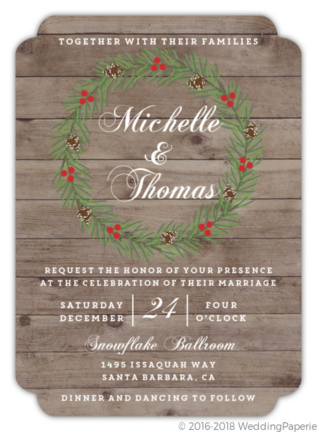 Christmas In The Woods Wedding Invitation Winter Wedding Invitations