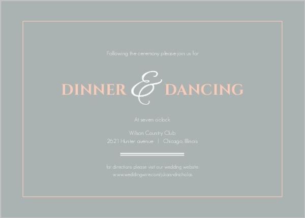 Peach and Grey Damask Wedding Reception Card Wedding Reception Cards