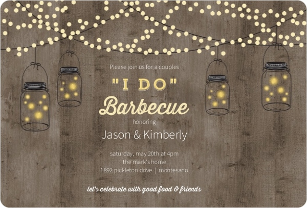 Mason Jar Party Lights Couples Shower Invitation Couples Shower - i do bbq wedding invitations