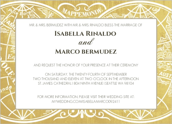 Gold Metallic Antique Style Wedding Invitation Wedding Invitations