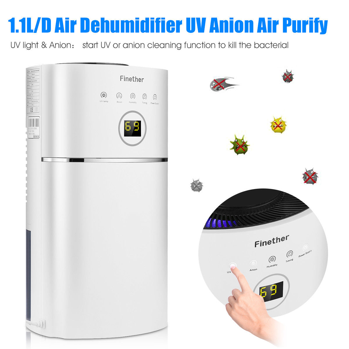 Diy Dehumidifier 2 4l Air Purifying Dehumidifier Anion Uv Air Purifier Bathroom