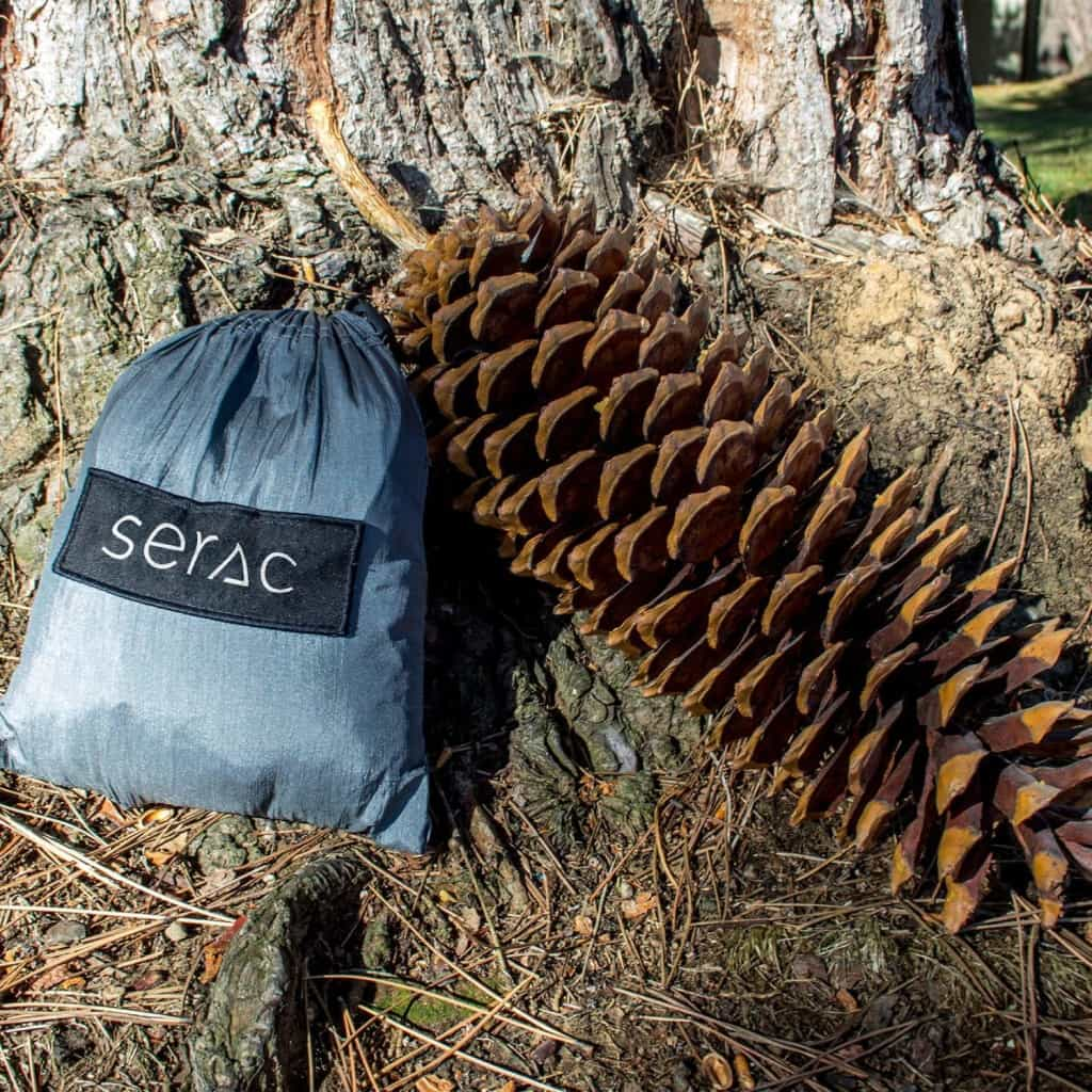 serac ultralight camping hammock drawstring compact stuff sack. the hammcok is smaller than a really big pine cone