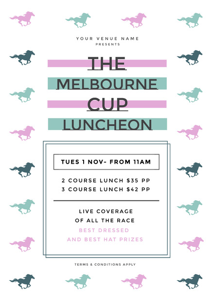 The Melbourne Cup Luncheon Template with pastel colored horse image