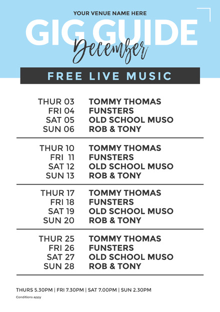 Blue Gig Guide / Lineup poster with 4 Weeks - Easil