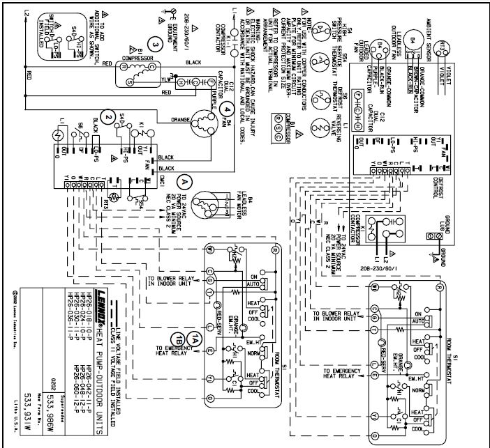lennox hp26 wiring diagram