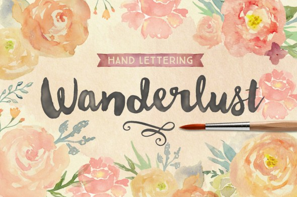 Wanderlust modern brush lettering by Cultivated Mind on Creative market