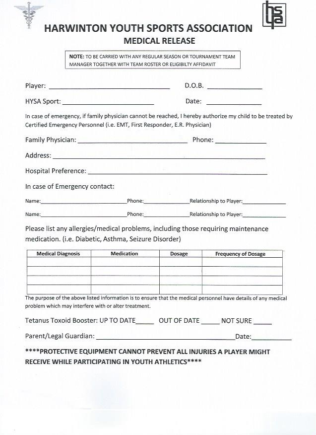 Medical Release Form Harwinton Youth Sports Association