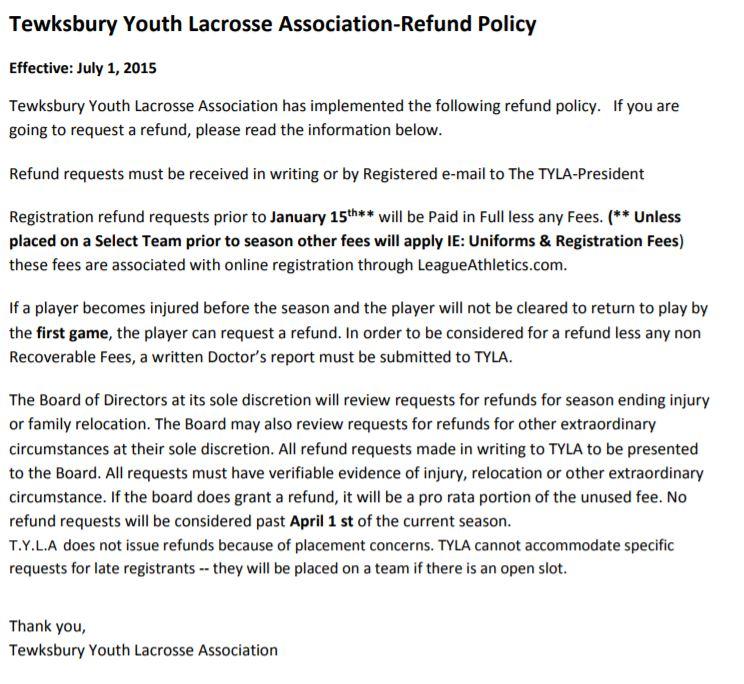 Refund Policy Tewksbury Youth Lacrosse Assoc