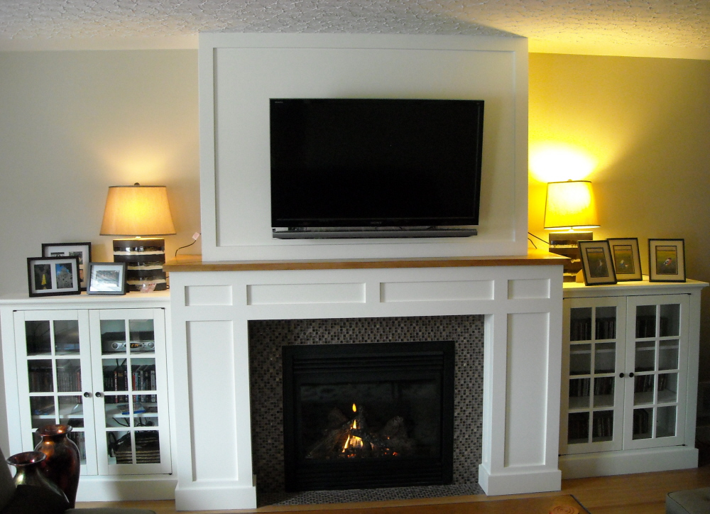 Craftsman Fireplace With Built In Media Cabinets Fine