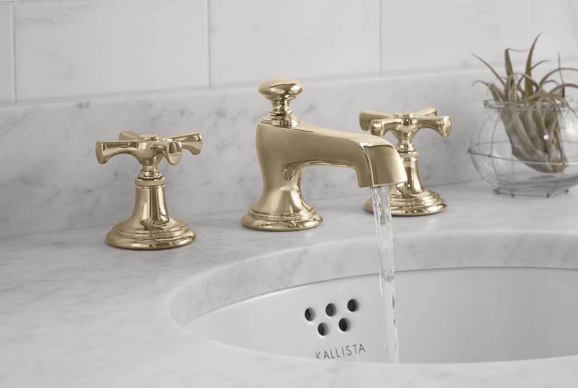 bringing brass back unlacquered brass kitchen faucet Kallista s Bellis in fresh unlacquered brass