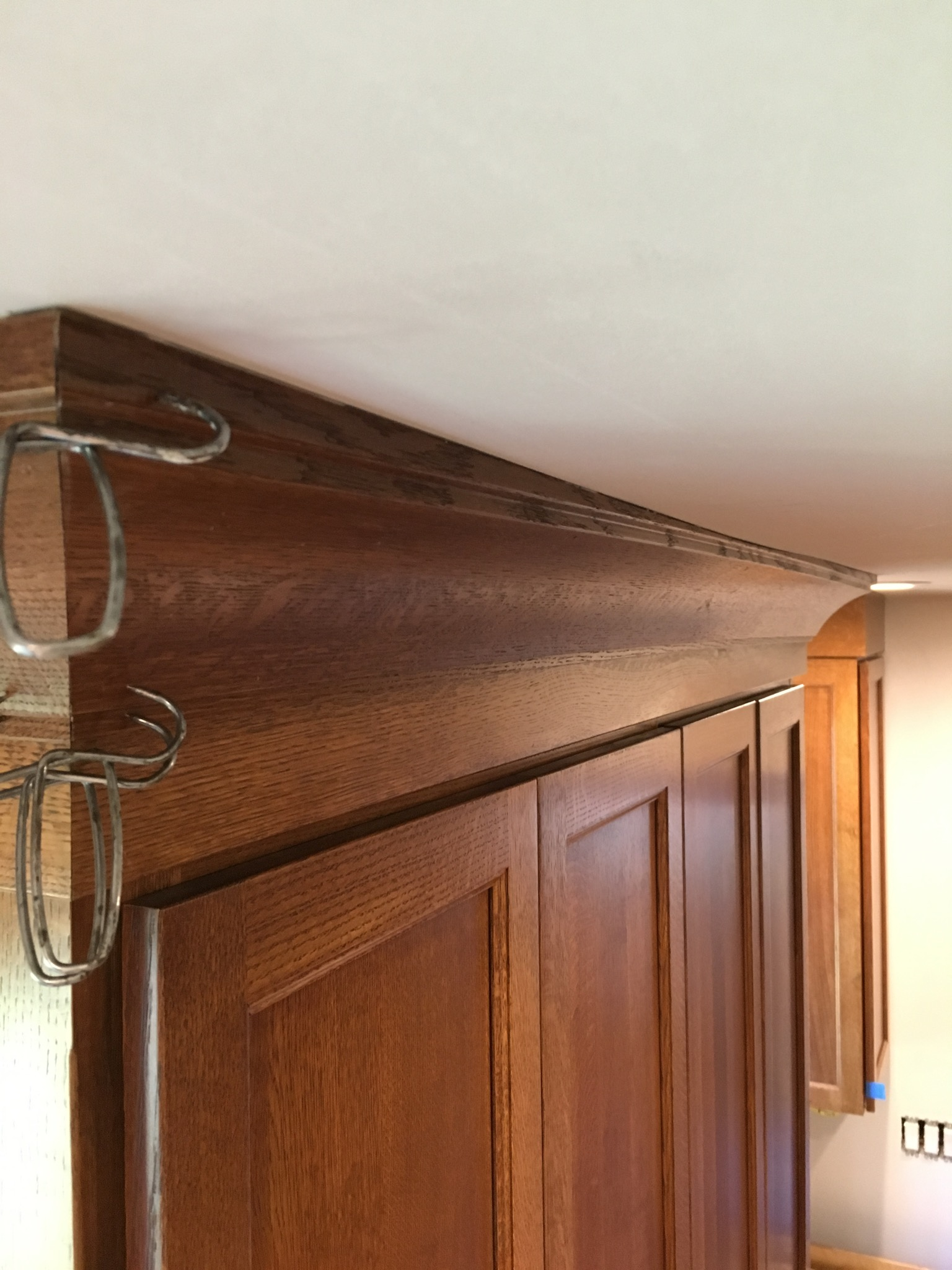 Installing Kitchen Cabinet Crown Molding Hiding A Wavy Ceiling In Crown Molding Fine Homebuilding