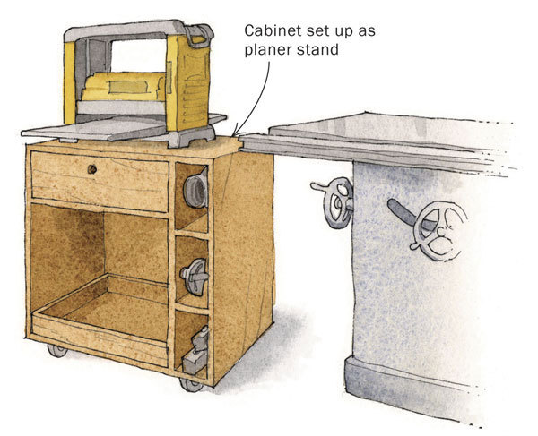 Planer Cabinet Doubles As Outfeed Table, Stores Out Of The Way