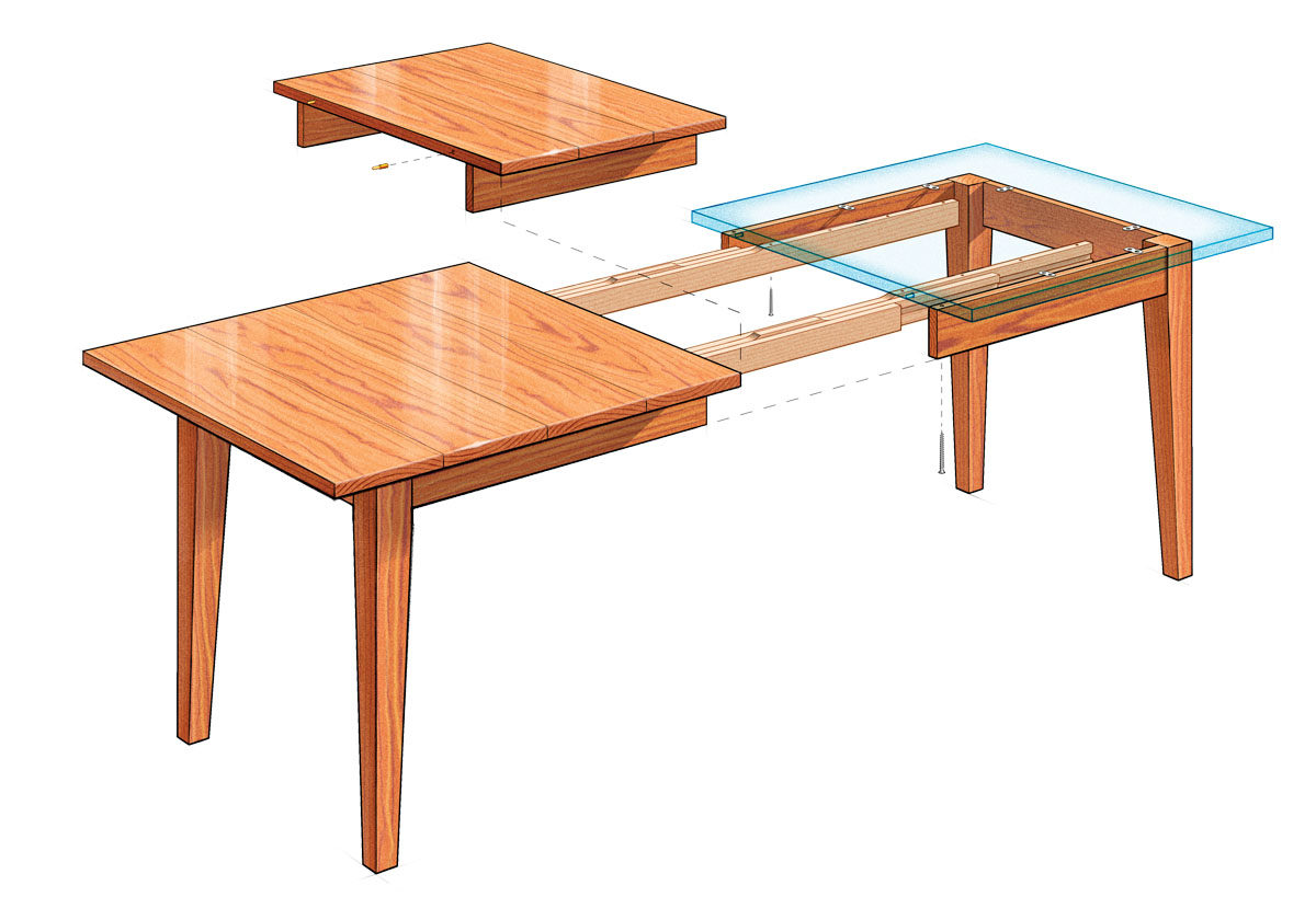 Table With Slide Out Leaves Extension Dining Table Finewoodworking