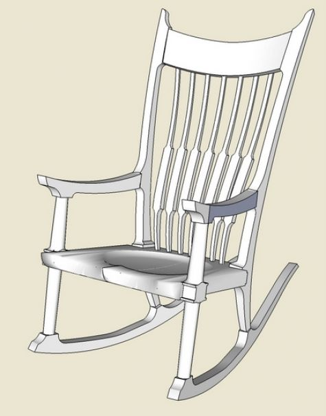 Maloof Rocker Roughing Into Sketchup Finewoodworking