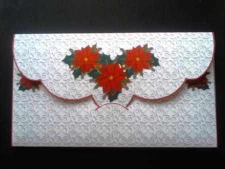 Money Wallet/gift Envelope - Poinsettias - CUP153412_489 Craftsuprint - money gift envelope template
