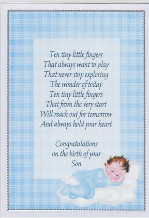 A4 Congratulations on the Birth of Your Baby Boy Insert