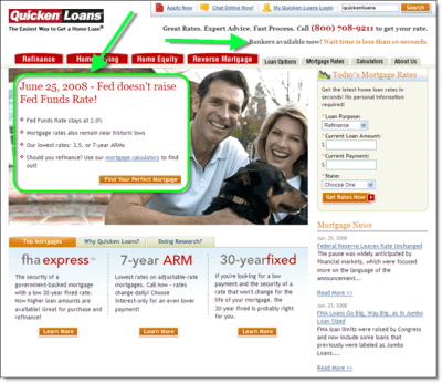 Quicken Loans Shows Customer Focus with Call Center Wait-Time on Homepage - Finovate