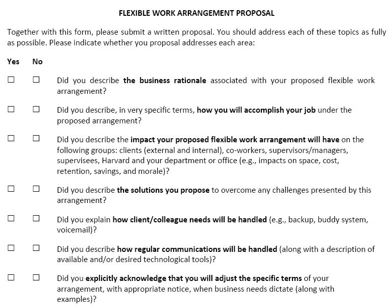 Creating an Easy, Useful Flexible Work Proposal Form - FlexJobs - sample work proposal