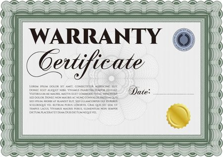 Sample Warranty certificate template Perfect style With sample
