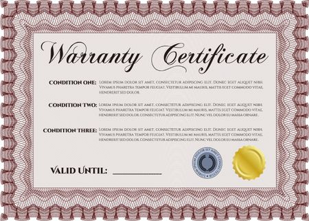 Sample Warranty certificate template With sample text Perfect