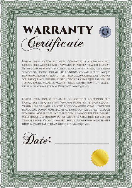 Sample Warranty certificate template Elegant design With guilloche