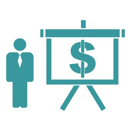 Vector Illustration of Person and Presentation Board with Dollar