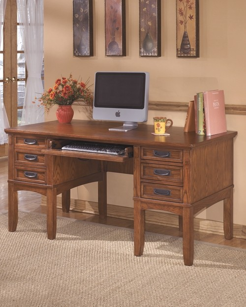Classic Table Office Cross Island Medium Brown Home Office Storage Leg Desk
