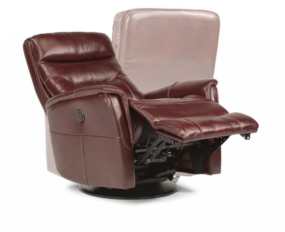 Electric Recliner Leather Chairs Alden Leather King Power Swivel Gliding Recliner 139353pk