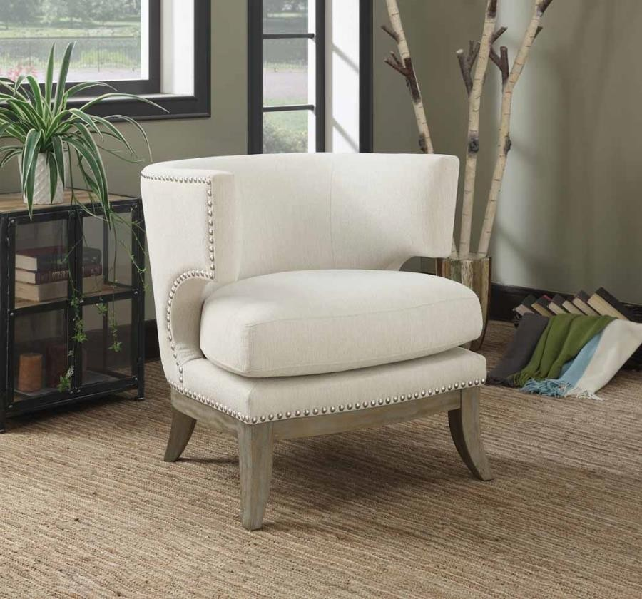 Upholstered Chairs With Nailheads Accents Chairs Contemporary White Accent Chair