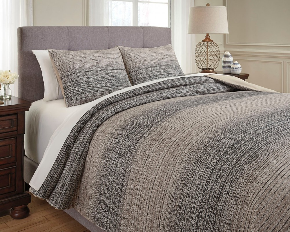 Quilt Cover King Arturo Natural Charcoal King Duvet Cover Set