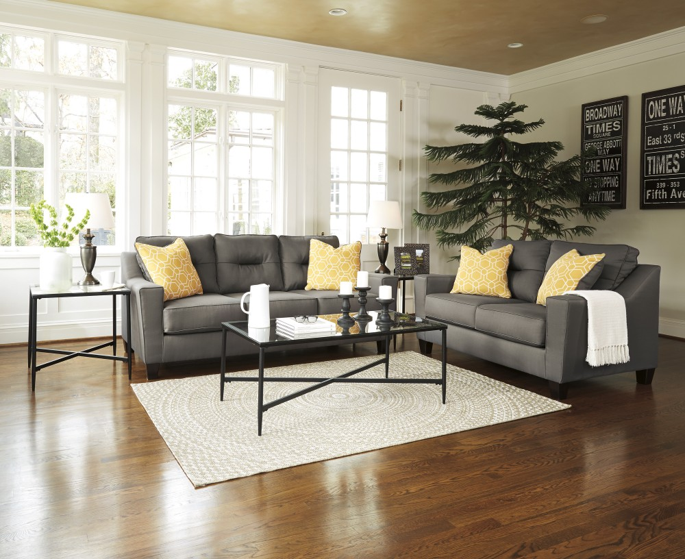 Emelen Sofa And Loveseat Forsan Nuvella Grey Sofa Loveseat 66902 35 38 Living