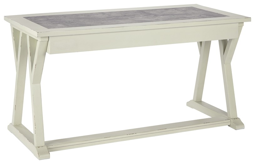 White Office Desk Jonileene White Gray Home Office Large Leg Desk H642 44
