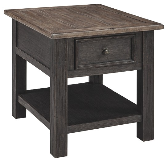 Black End Tables With Drawer Tyler Creek Grayish Brown Black Rectangular End Table
