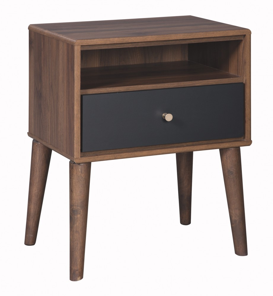 The Furnish Daneston Brown Graphite One Drawer Night Stand B292 91