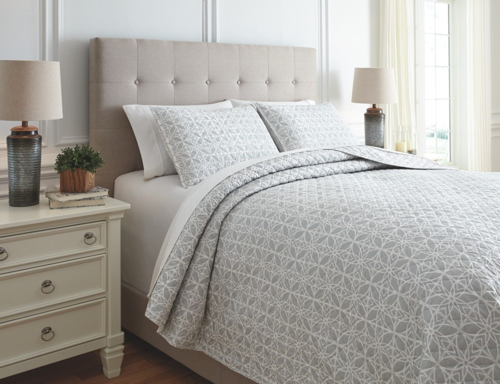 Quilt Cover King Mayda Gray White King Quilt Set