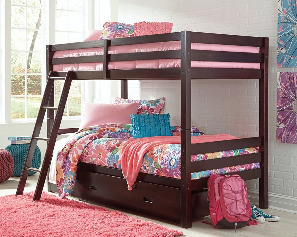 Halanton Twin Over Twin Bunk Bed With 1 Large Storage Drawer Bunk Beds Home Furniture