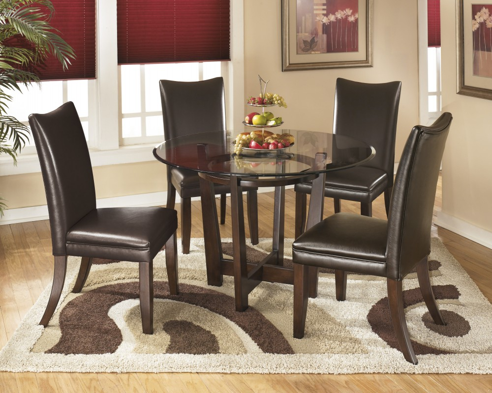Dining Room Carpet Charrell Round Dining Room Table 4 Medium Brown Uph Side Chairs