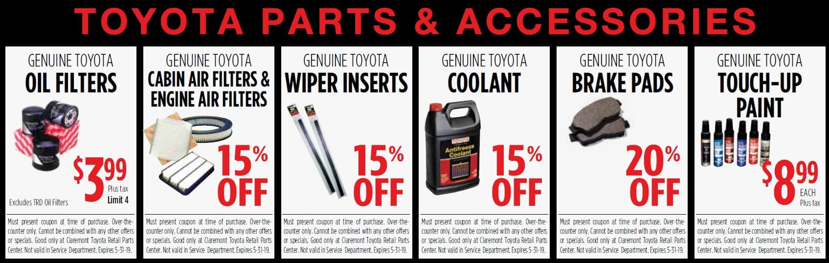 Auto Accessories Garage Military Discount Parts Specials Claremont Toyota
