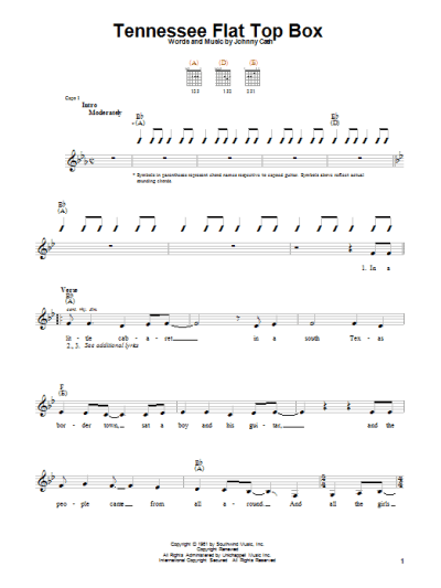 Tennessee Flat Top Box Sheet Music | Johnny Cash | Easy Guitar