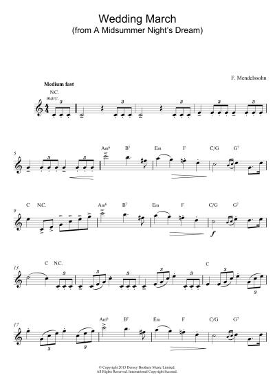 Wedding March (from A Midsummer Night's Dream) | Sheet ...