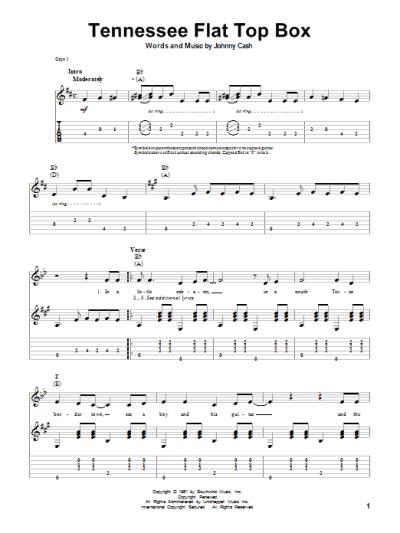 Tennessee Flat Top Box Sheet Music | Johnny Cash | Guitar Tab (Single Guitar)