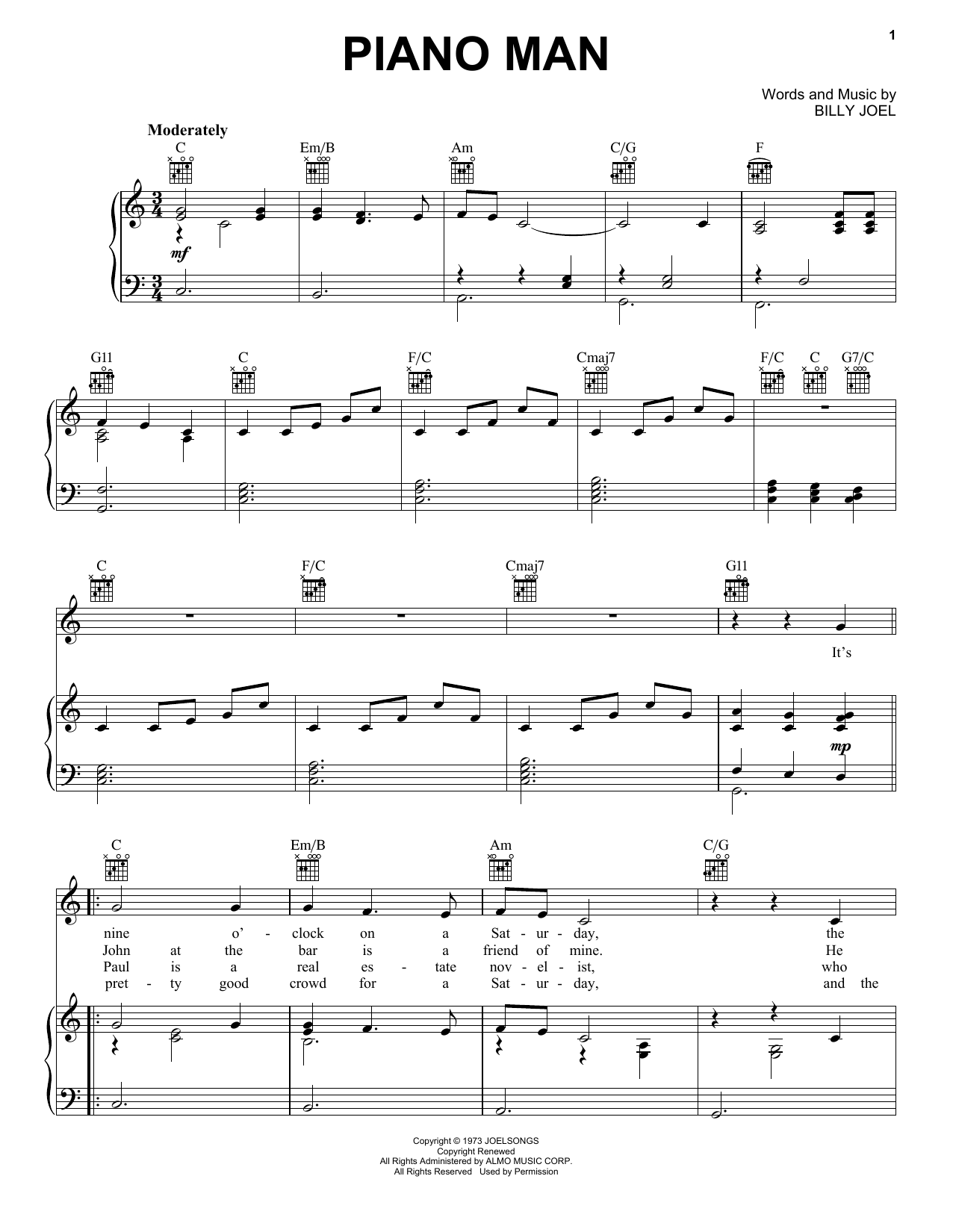Billy Joel Piano Man Piano Man Sheet Music By Billy Joel Piano Vocal And Guitar