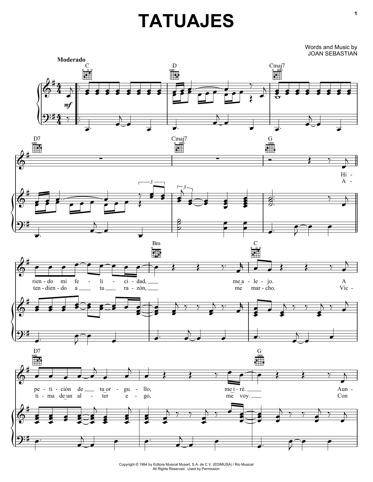 Acordes De Guitarra Para Música Cristiana Tatuajes By Joan Sebastian Piano Vocal Guitar Right Hand Melody Digital Sheet Music