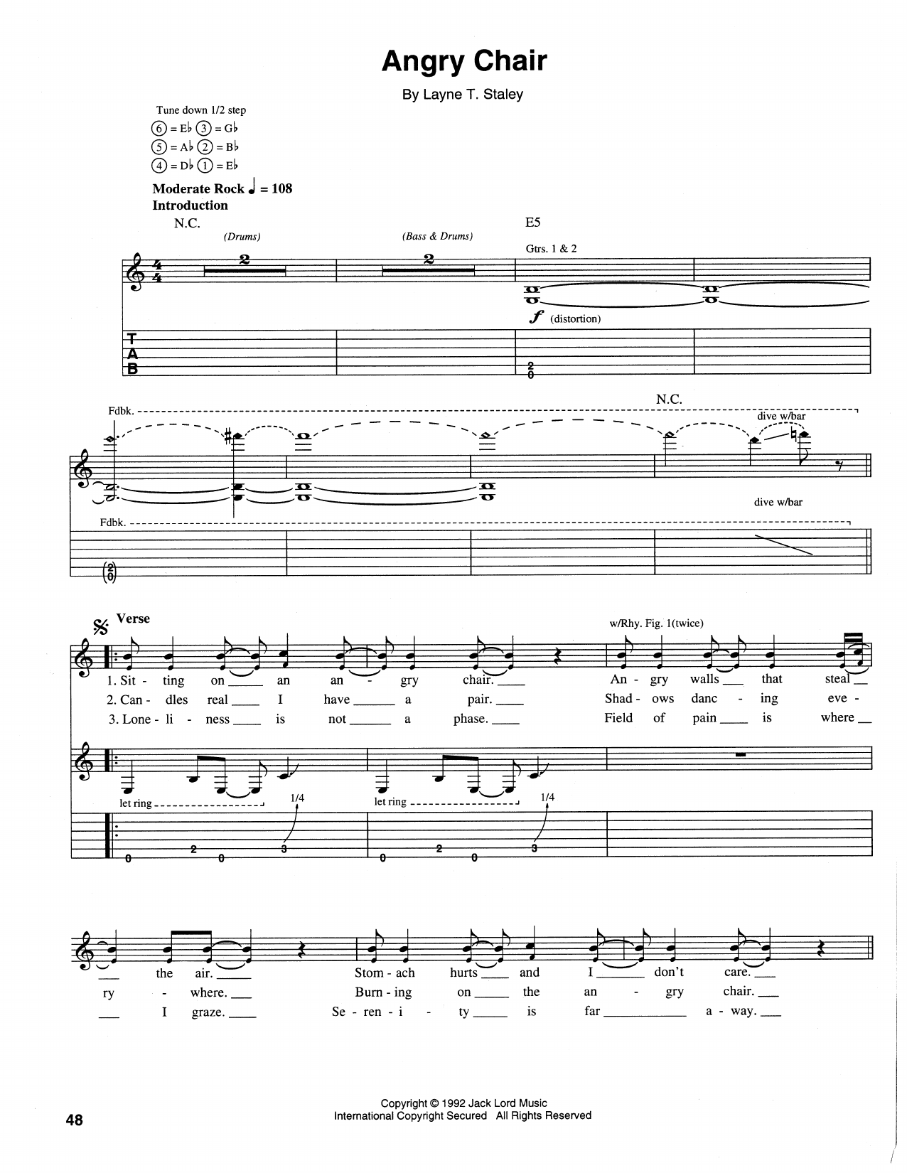 Angry Chair By Alice In Chains Guitar Tab Guitar