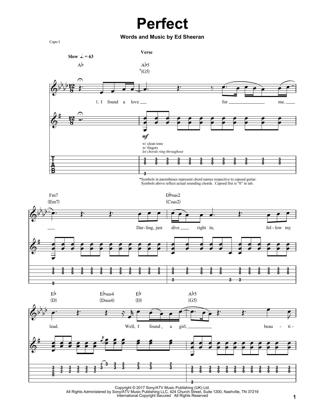 Acordes De Guitarra Para Música Cristiana Perfect Partituras Ed Sheeran Guitarra Tablatura Guitarra