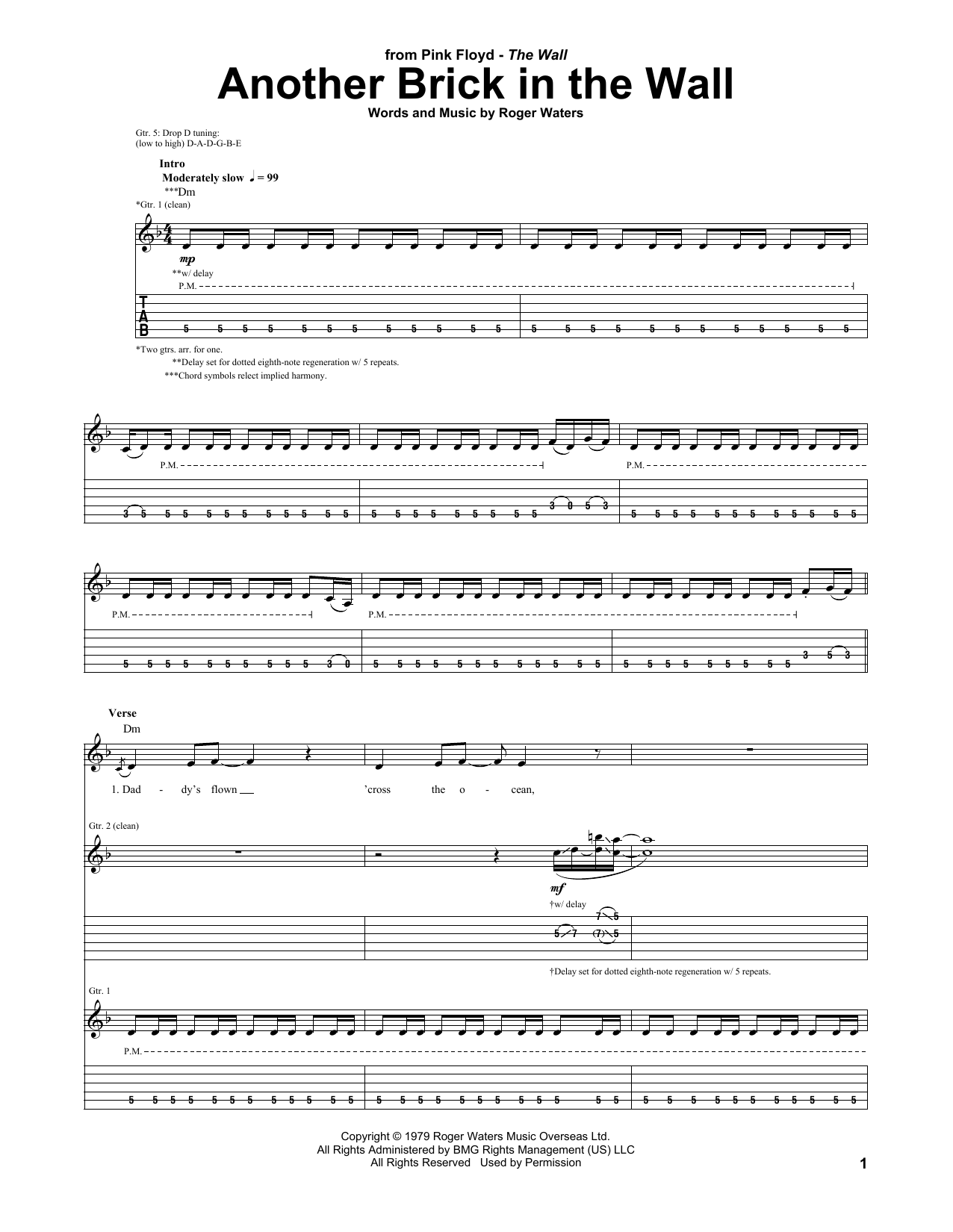 Brick Wall Sheet Another Brick In The Wall By Pink Floyd Guitar Tab