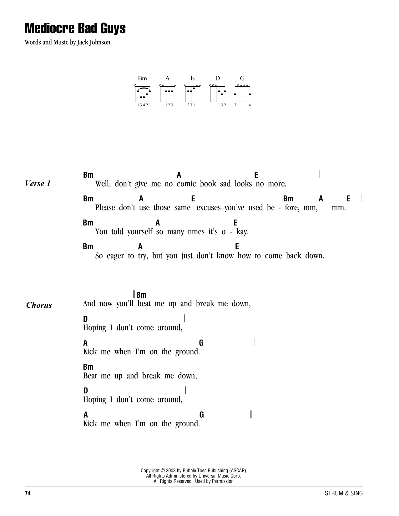 Bad Guy Set It Off Chords Mediocre Bad Guys By Jack Johnson Guitar Chords Lyrics