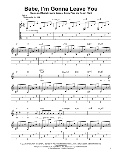 Babe, I'm Gonna Leave You by Led Zeppelin - Easy Guitar Tab - Guitar Instructor